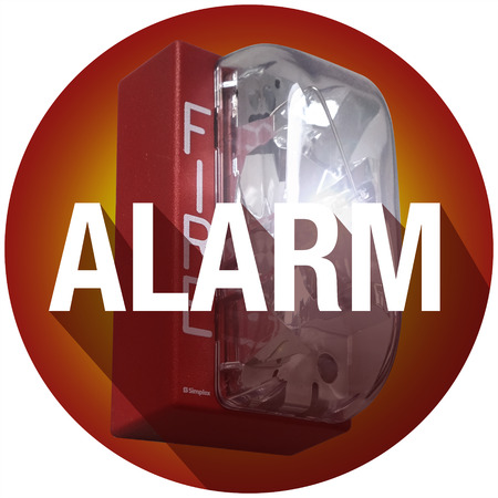 alarming: Alarm word with long shadow on a fire elert for a crisis or emergency evacuation