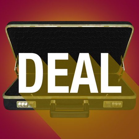 compromising: Deal word with long shadow on briefcase to illustrate a contract with a new customer or buyer Stock Photo