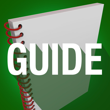 manual: Guide word with long shadow on an instruction manual for learning directions or steps for a job, task or project