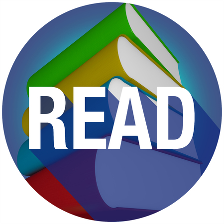reads: Read word with long shadow on a stack or pile of books for learning or education at a school or library Stock Photo
