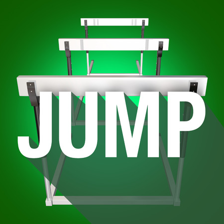 conquering: Jump word with long shadow over hurdles to illustrate challenge, danger and risk to overcome