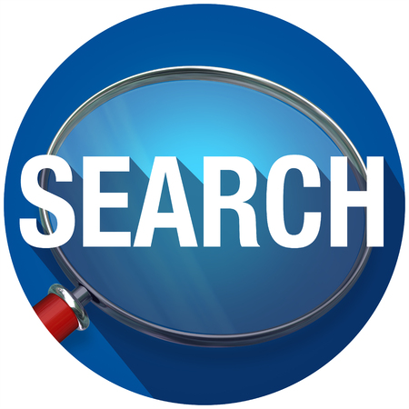 finding: Search word with long shadow on magnifying glass to illustrate looking for and finding facts and information Stock Photo