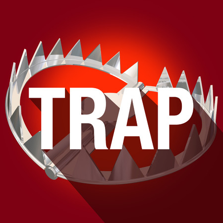 entrapment: Steel bear trap with metal teeth and long shadow word to illustrate or warn of risk or danger
