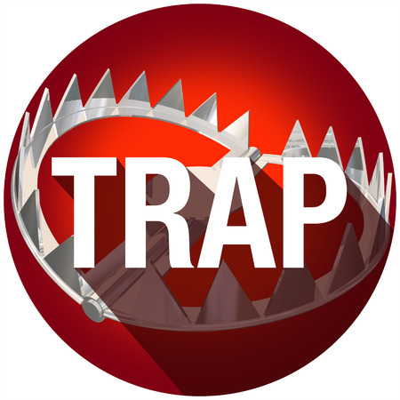 kidnap: Steel bear trap with metal teeth and long shadow word to illustrate or warn of risk or danger