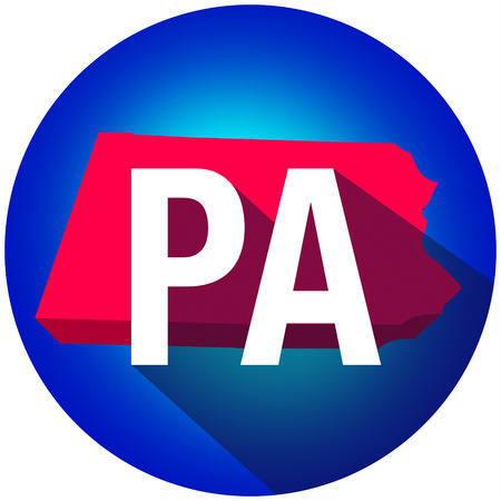 abbreviated: Pennsylvania PA letters on a 3d map of the state as part of the USA United States of America, with long shadow Stock Photo