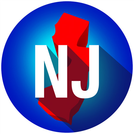 abbreviated: New Jersey NJ letters on a 3d map of the state as part of the USA United States of America, with long shadow