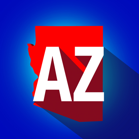 locate: Arizona AZ letters on a 3d map of the state as part of the USA United States of America, with long shadow