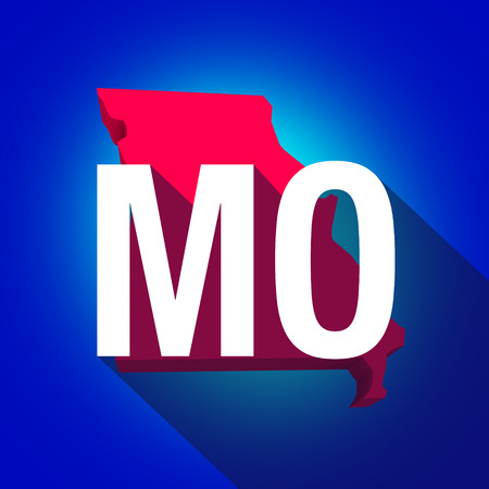 abbreviated: Missouri MO letters on a 3d map of the state as part of the USA United States of America, with long shadow