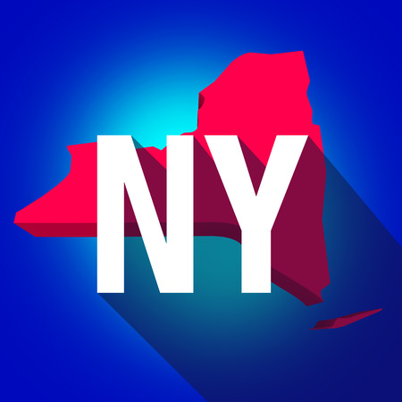 abbreviated: New York NY letters on a 3d map of the state as part of the USA United States of America, with long shadow Stock Photo