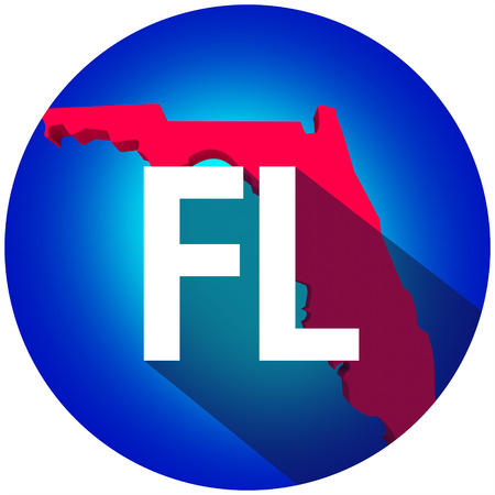 locate: Florida FL letters on a 3d map of the state as part of the USA United States of America, with long shadow Stock Photo