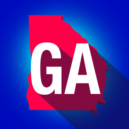 ga: Georgia GA letters on a 3d map of the state as part of the USA United States of America, with long shadow