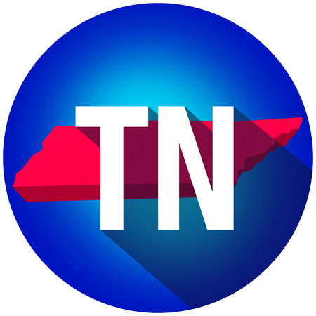 abbreviated: Tennessee TN letters on a 3d map of the state as part of the USA United States of America, with long shadow