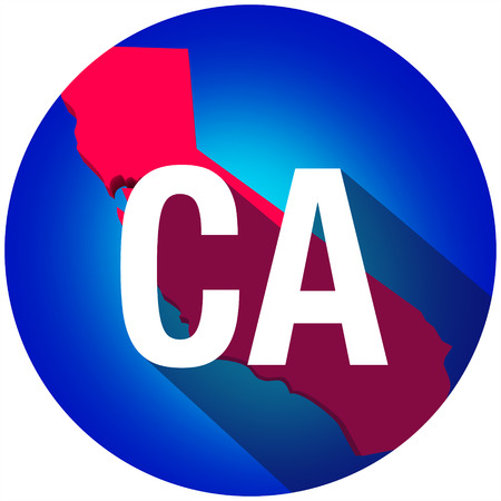 abbreviated: California CA letters on a 3d map of the state as part of the USA United States of America, with long shadow