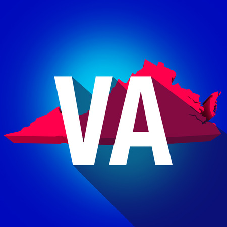abbreviated: Virginia VA letters on a 3d map of the state as part of the USA United States of America, with long shadow Stock Photo