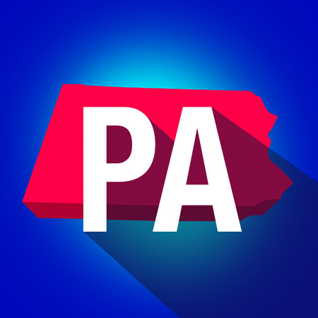 pa: Pennsylvania PA letters on a 3d map of the state as part of the USA United States of America, with long shadow Stock Photo