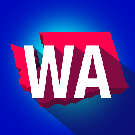 abbreviated: Washington WA letters on a 3d map of the state as part of the USA United States of America, with long shadow Stock Photo