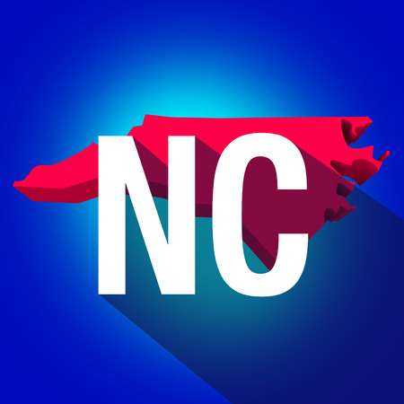 abbreviated: North Carolina NC letters on a 3d map of the state as part of the USA United States of America, with long shadow