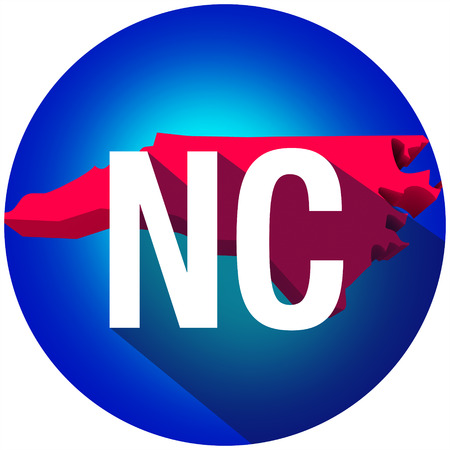 nc: North Carolina NC letters on a 3d map of the state as part of the USA United States of America, with long shadow