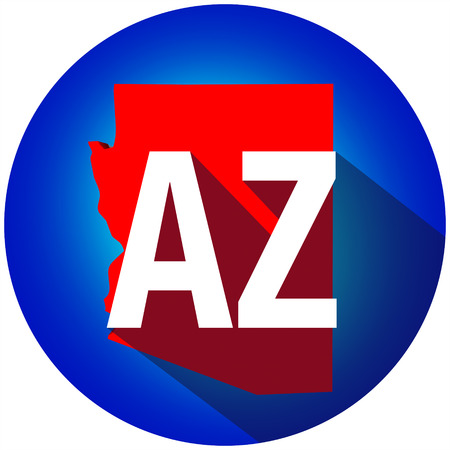 abbreviated: Arizona AZ letters on a 3d map of the state as part of the USA United States of America, with long shadow