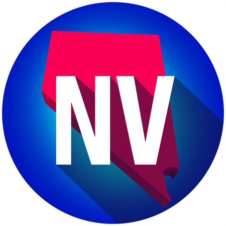 abbreviated: Nevada NV letters on a 3d map of the state as part of the USA United States of America, with long shadow