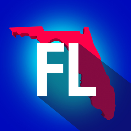 abbreviated: Florida FL letters on a 3d map of the state as part of the USA United States of America, with long shadow Stock Photo