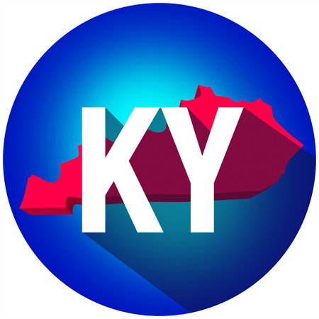 abbreviated: Kentucky KY letters on a 3d map of the state as part of the USA United States of America, with long shadow Stock Photo