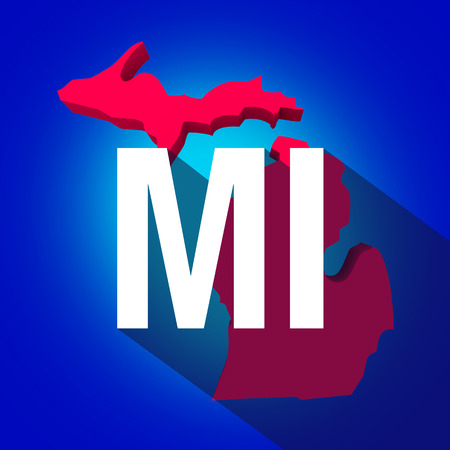 locate: Michigan MI letters on a 3d map of the state as part of the USA United States of America, with long shadow Stock Photo