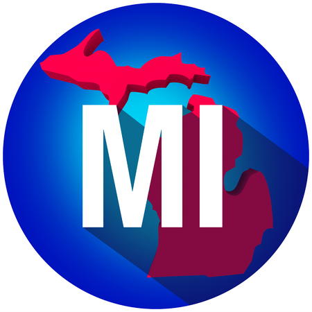 abbreviated: Michigan MI letters on a 3d map of the state as part of the USA United States of America, with long shadow Stock Photo