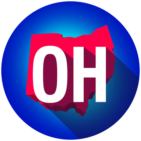 abbreviated: Ohio OH letters on a 3d map of the state as part of the USA United States of America, with long shadow
