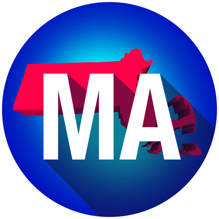 abbreviated: Massachusetts MA letters on a 3d map of the state as part of the USA United States of America, with long shadow Stock Photo