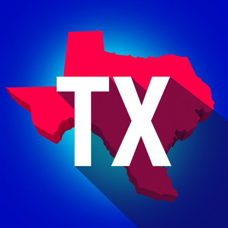 abbreviated: Texas TX letters on a 3d map of the state as part of the USA United States of America, with long shadow