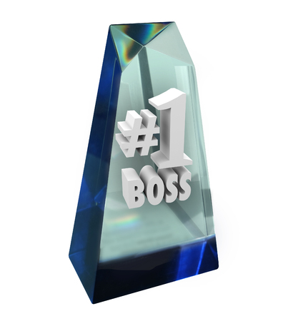 accolade: Number One 1 Boss words in a clear prize, trophy or award in appreciation of a great manager, director or ceo Stock Photo