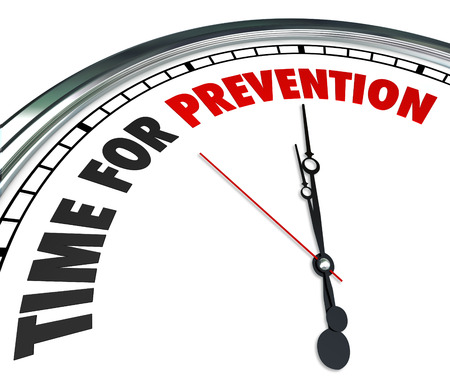 deter: Time for Prevention words on a clock face to illustrate safety precaution or procedure to avoid danger or risk