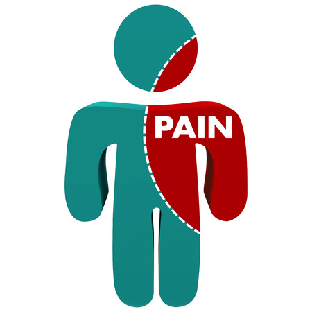 Pain word on an area with dotted line on a person or patient to show injury or infection spreading in the body Stock Photo