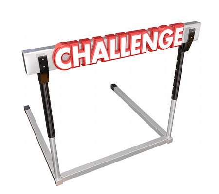 difficult mission: Challenge word in red 3d letters on a hurder or barrier obstructing your path and to be overcome to achieve a goal Stock Photo