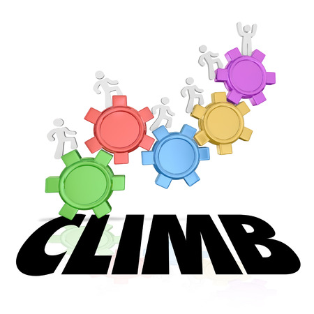 Climb word on people marching up gears to rise and achieve success with each step