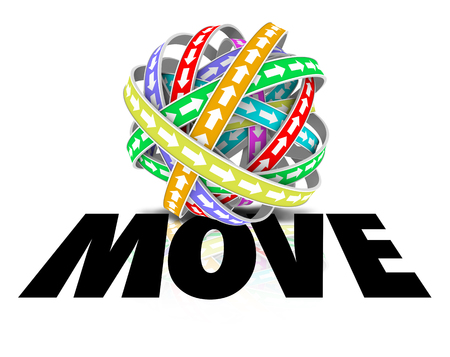 going: Move word on arrows going around in a cyclical motion to illustrate mobility, movement and progress