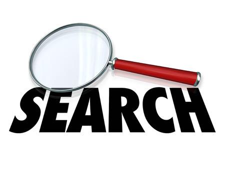 事実と情報を捜し、見つけることを説明するために虫眼鏡の検索ワード