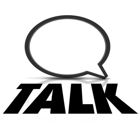 listener: Talk word on a speech bubble to illustrate sharing of information and communication Stock Photo