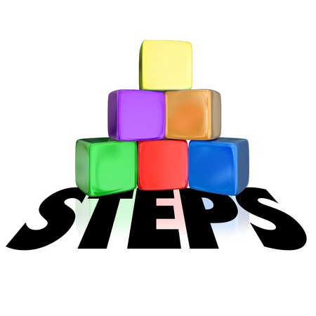 higher: Steps word over a pyramid of cubes or blocks to illustrate rising to higher or next level Stock Photo