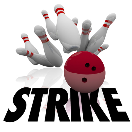 down under: Strike word under a bowling ball hitting and knocking down all pins and winning a game with top score