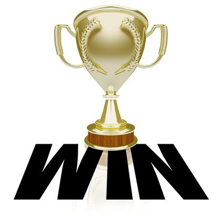 bestowing: Win word over gold trophy or award for winner or victorious team in a competition or game Stock Photo