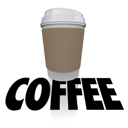joe: Coffee cup word over a plastic container of morning joe or beverage