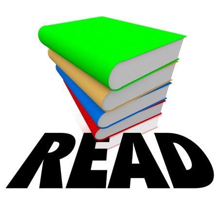 スタックまたは学校や図書館での教育や学習のための本の山の長い影と単語を読む