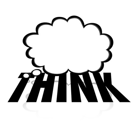 ponder: Think word on thought cloud to illustrate creativity, imagination, brainstorming and innovation