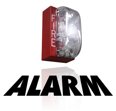 drill: Alarm word under a fire elert for a crisis or emergency evacuation Stock Photo