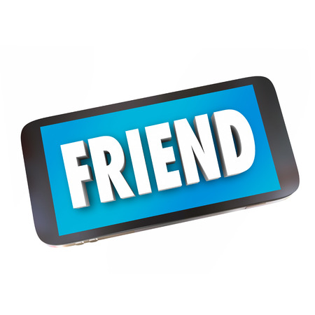 companionship: Friend word symbolizing friendship on a cell phone in networking and connecting via text and talking messages