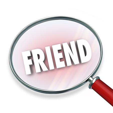 companionship: Amigo de la palabra amistad symolizing bajo una lupa de b�squeda, buscar y encontrar compa��a Foto de archivo