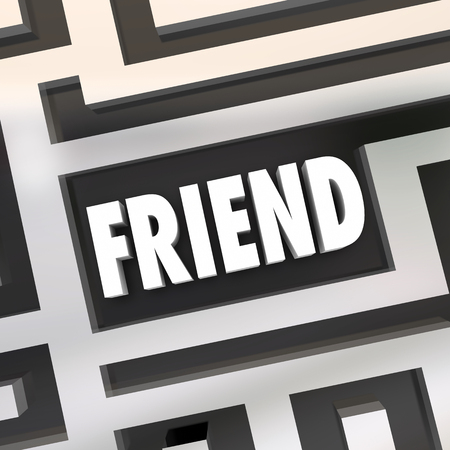 search searching: Friend word symolizing friendship in a maze for being lost or found as a companion Stock Photo