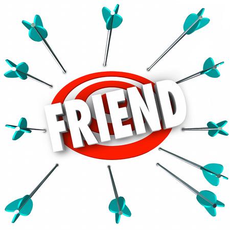 compa�erismo: Amigo amistad palabra symolizing con flechas de orientaci�n compa��a